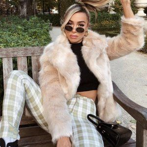 Princess Polly Lioness Fluffy Faux Fur Jacket Coat